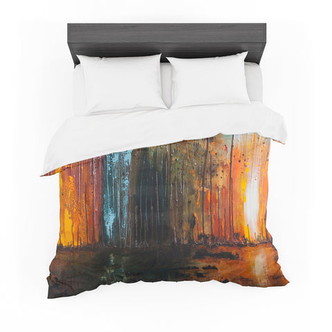 "Steven Dix ""There's Fire"" Black Orange Painting Featherweight Duvet Cover"