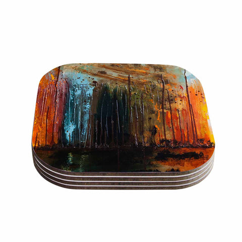 "Steven Dix ""There's Fire"" Black Orange Painting Coasters (Set of 4)"