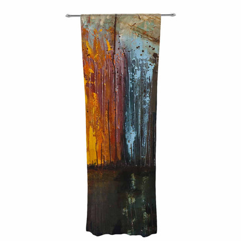 "Steven Dix ""There's Fire"" Black Orange Painting Decorative Sheer Curtain"