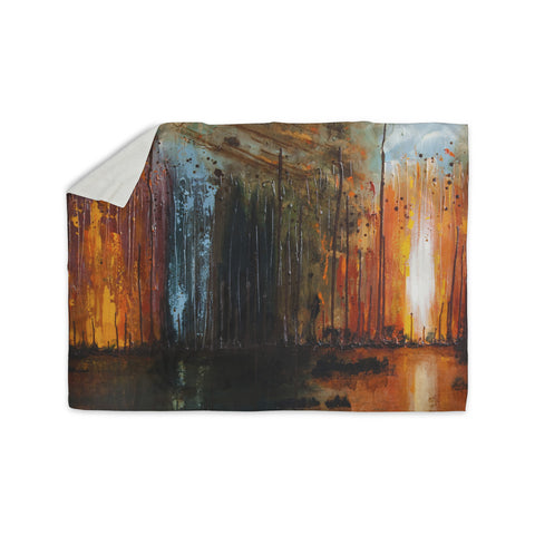 "Steven Dix ""There's Fire"" Black Orange Painting Sherpa Blanket"