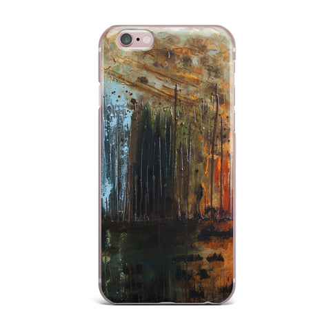 "Steven Dix ""There's Fire"" Black Orange Painting iPhone Case"