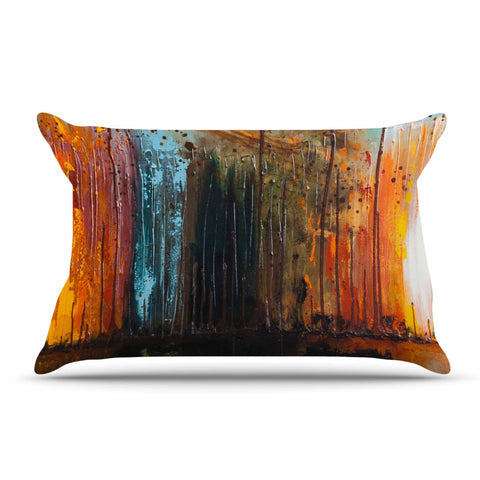 "Steven Dix ""There's Fire"" Black Orange Painting Pillow Sham"