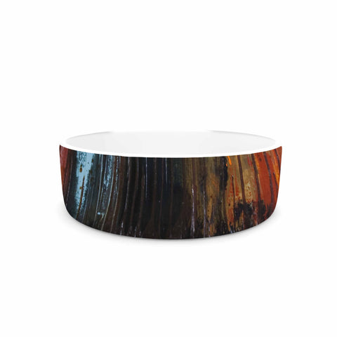 "Steven Dix ""There's Fire"" Black Orange Painting Pet Bowl"