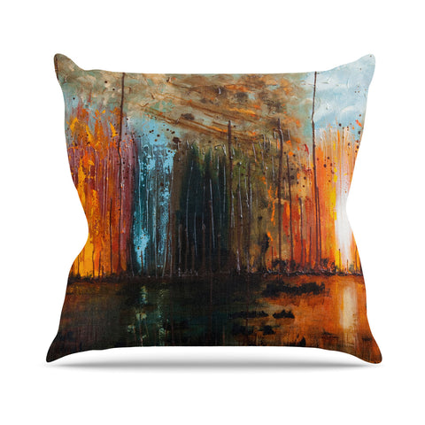 "Steven Dix ""There's Fire"" Black Orange Painting Outdoor Throw Pillow"