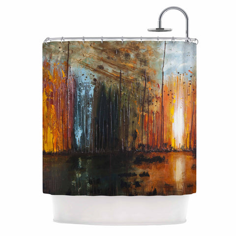 "Steven Dix ""There's Fire"" Black Orange Painting Shower Curtain"