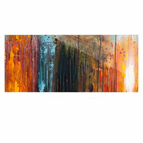 "Steven Dix ""There's Fire"" Black Orange Painting Luxe Rectangle Panel"
