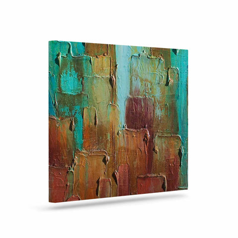 "Steven Dix ""Copper Shale Awash"" Teal Brown Painting Canvas Art"