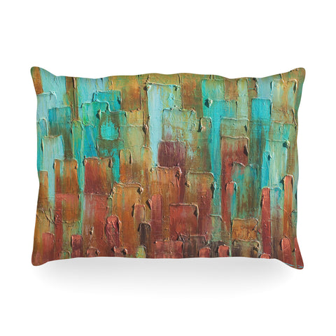 "Steven Dix ""Copper Shale Awash"" Teal Brown Painting Oblong Pillow"