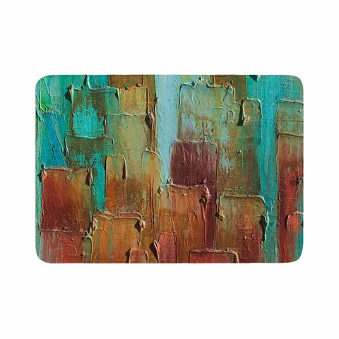 "Steven Dix ""Copper Shale Awash"" Teal Brown Painting Memory Foam Bath Mat"