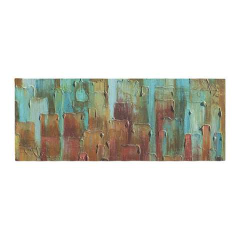 "Steve Dix ""Copper Shale Awash"" Teal Brown Painting Bed Runner"