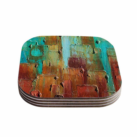 "Steven Dix ""Copper Shale Awash"" Teal Brown Painting Coasters (Set of 4)"