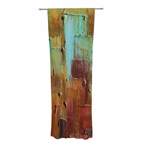 "Steven Dix ""Copper Shale Awash"" Teal Brown Painting Decorative Sheer Curtain"