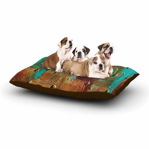 "Steven Dix ""Copper Shale Awash"" Teal Brown Painting Dog Bed"