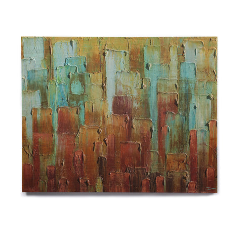 "Steven Dix ""Copper Shale Awash"" Teal Brown Painting Birchwood Wall Art"