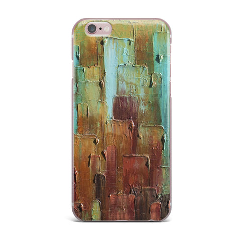 "Steven Dix ""Copper Shale Awash"" Teal Brown Painting iPhone Case"