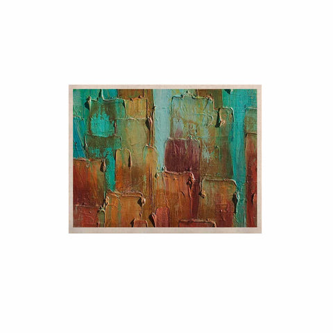 "Steven Dix ""Copper Shale Awash"" Teal Brown Painting KESS Naturals Canvas (Frame not Included)"
