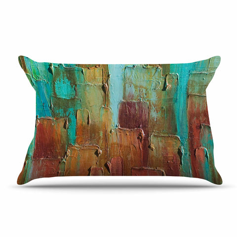 "Steven Dix ""Copper Shale Awash"" Teal Brown Painting Pillow Sham"