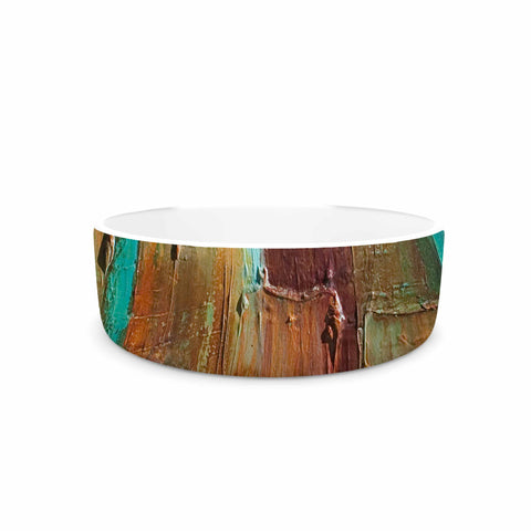 "Steven Dix ""Copper Shale Awash"" Teal Brown Painting Pet Bowl"