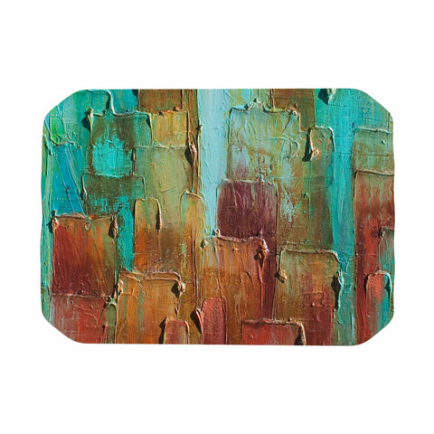 "Steven Dix ""Copper Shale Awash"" Teal Brown Painting Place Mat"