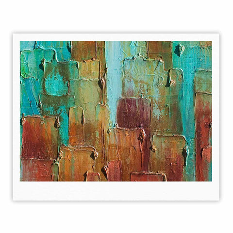 "Steven Dix ""Copper Shale Awash"" Teal Brown Painting Fine Art Gallery Print"