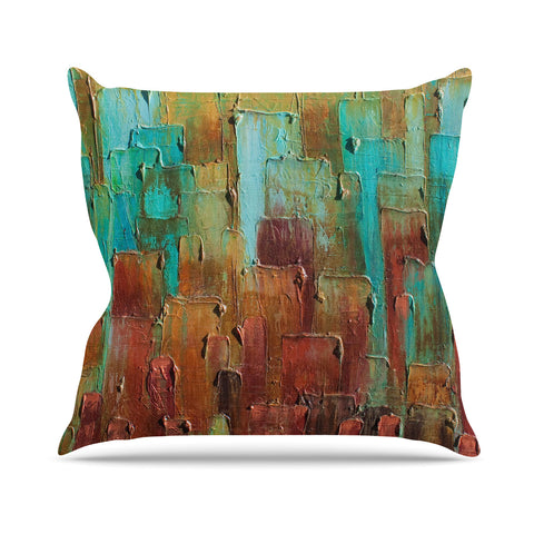 "Steven Dix ""Copper Shale Awash"" Teal Brown Painting Outdoor Throw Pillow"