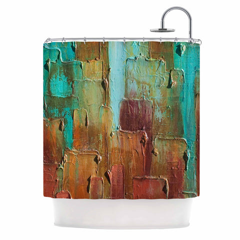 "Steven Dix ""Copper Shale Awash"" Teal Brown Painting Shower Curtain"