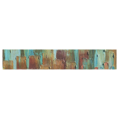 "Steven Dix ""Copper Shale Awash"" Teal Brown Painting Table Runner"
