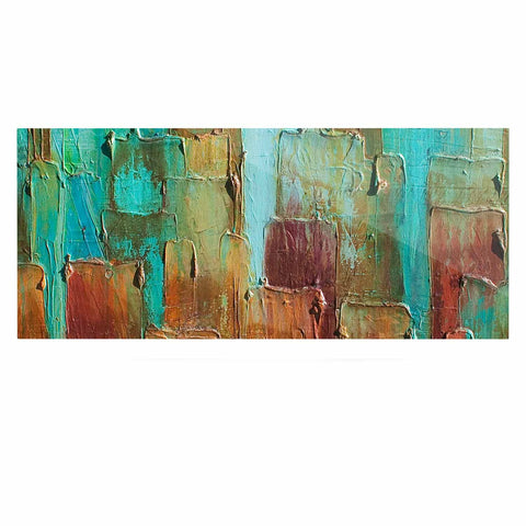 "Steven Dix ""Copper Shale Awash"" Teal Brown Painting Luxe Rectangle Panel"