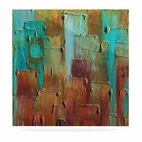 "Steven Dix ""Copper Shale Awash"" Teal Brown Painting Luxe Square Panel"