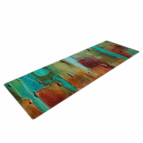 "Steven Dix ""Copper Shale Awash"" Teal Brown Painting Yoga Mat"