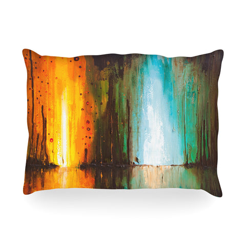 "Steven Dix ""Kinds Of Tranquil"" Teal Orange Painting Oblong Pillow"