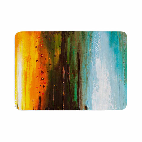 "Steven Dix ""Kinds Of Tranquil"" Teal Orange Painting Memory Foam Bath Mat"