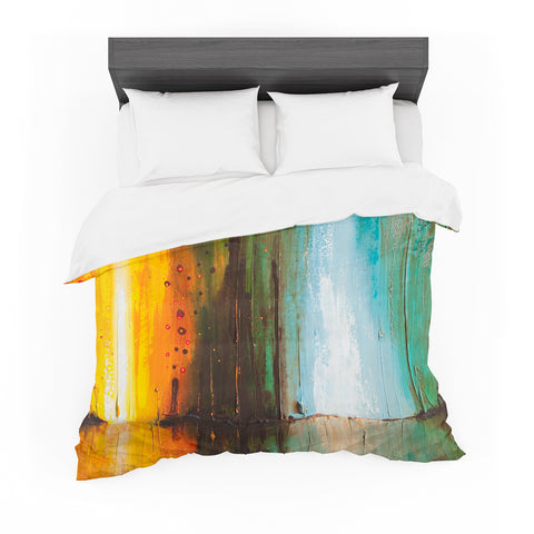 "Steven Dix ""Kinds Of Tranquil"" Teal Orange Painting Featherweight Duvet Cover"
