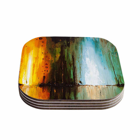 "Steven Dix ""Kinds Of Tranquil"" Teal Orange Painting Coasters (Set of 4)"