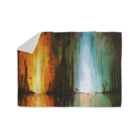 "Steven Dix ""Kinds Of Tranquil"" Teal Orange Painting Sherpa Blanket"