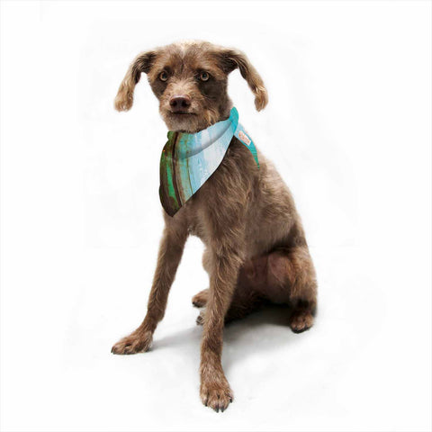 "Steven Dix ""Kinds Of Tranquil"" Teal Orange Painting Pet Bandana"