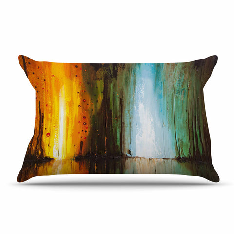 "Steven Dix ""Kinds Of Tranquil"" Teal Orange Painting Pillow Sham"