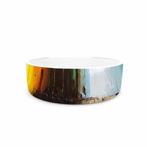 "Steven Dix ""Kinds Of Tranquil"" Teal Orange Painting Pet Bowl"