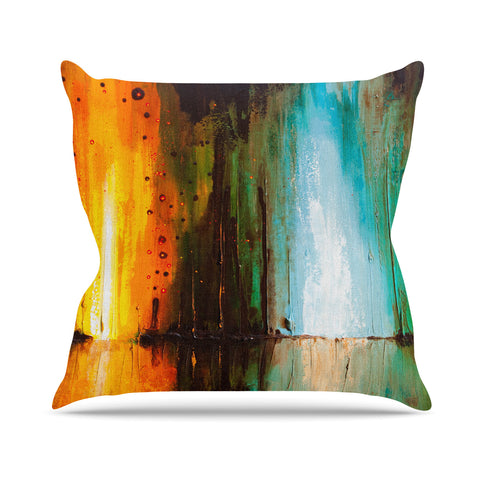 "Steven Dix ""Kinds Of Tranquil"" Teal Orange Painting Outdoor Throw Pillow"