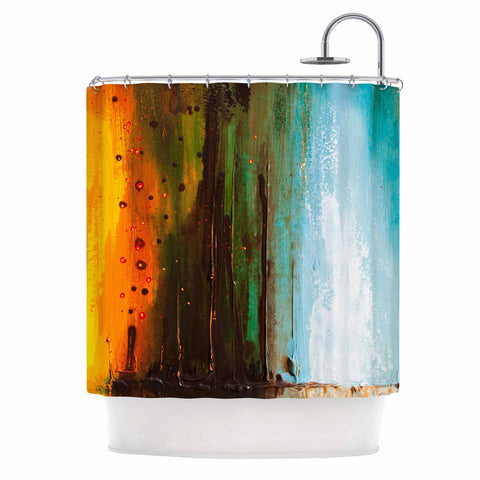 "Steven Dix ""Kinds Of Tranquil"" Teal Orange Painting Shower Curtain"