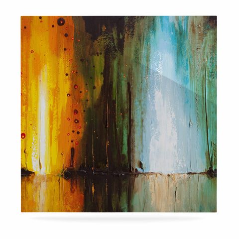 "Steven Dix ""Kinds Of Tranquil"" Teal Orange Painting Luxe Square Panel"