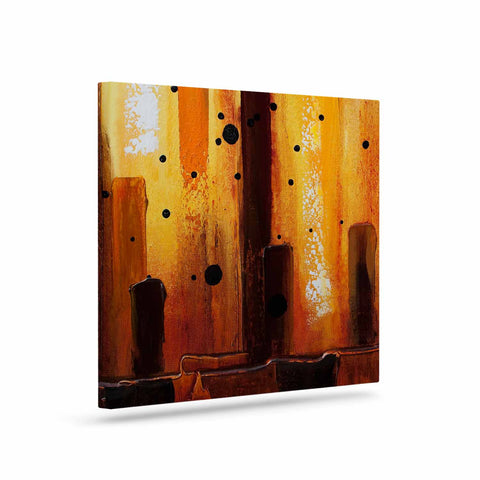 "Steven Dix ""Falling Embers"" Orange Black Painting Canvas Art"