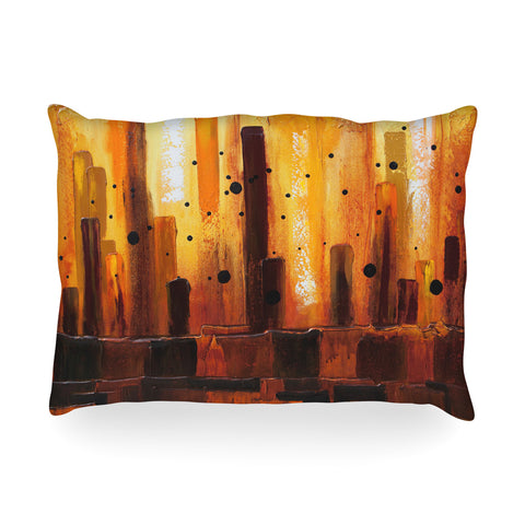 "Steven Dix ""Falling Embers"" Orange Black Painting Oblong Pillow"