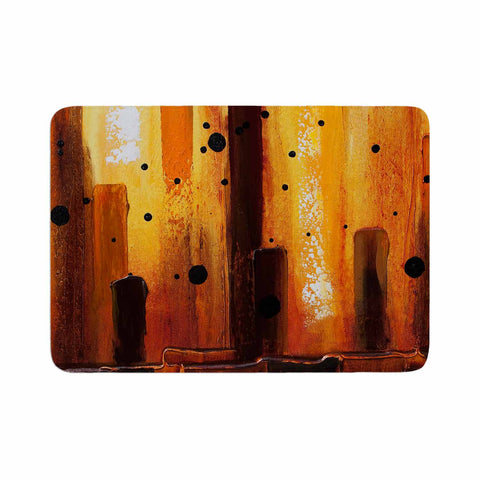 "Steven Dix ""Falling Embers"" Orange Black Painting Memory Foam Bath Mat"