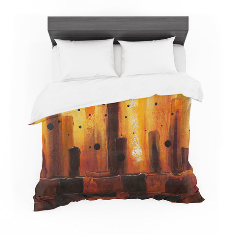 "Steven Dix ""Falling Embers"" Orange Black Painting Featherweight Duvet Cover"