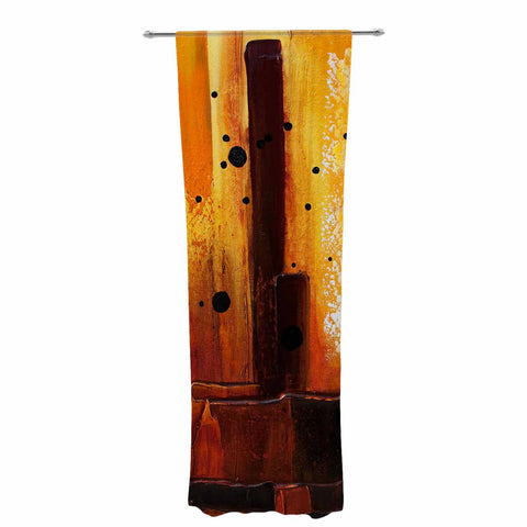 "Steven Dix ""Falling Embers"" Orange Black Painting Decorative Sheer Curtain"