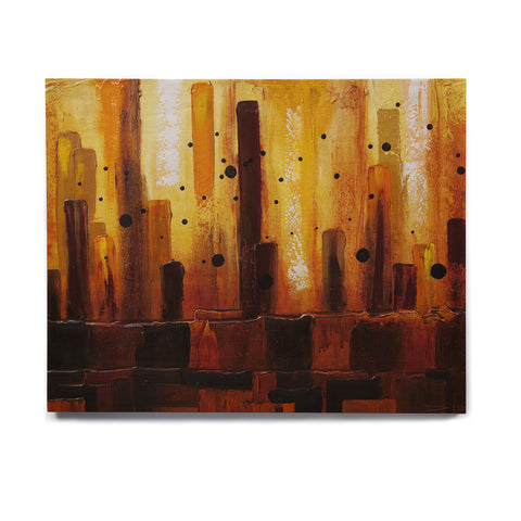 "Steven Dix ""Falling Embers"" Orange Black Painting Birchwood Wall Art"