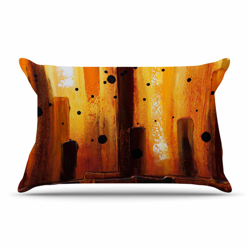 "Steven Dix ""Falling Embers"" Orange Black Painting Pillow Sham"