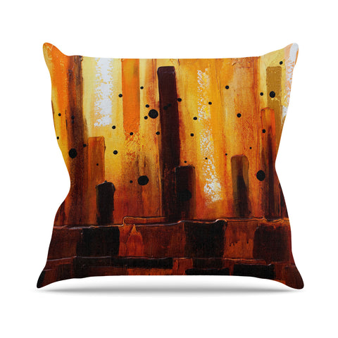 "Steven Dix ""Falling Embers"" Orange Black Painting Throw Pillow"