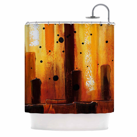 "Steven Dix ""Falling Embers"" Orange Black Painting Shower Curtain"